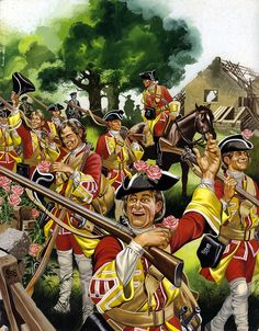 Ron Embleton cover for a 1966 edition of 'Finding Out' magazine. It illustrates the 37th Regiment picking dog-roses on their way to their victory at the battle of Minden, 1759. Click on image to ENLARGE.