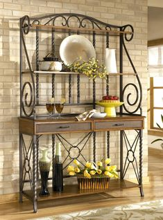 sleek designer bakers racks furniture | ... Bakers Rack - Signature Design by Ashley ( Kitchen, Bakers Racks