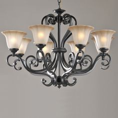 LNC Antique Finish Black Iron 8 Lights Rustic Chandelier Lighting Glass Shade D32-Inch by H24-Inch: Amazon.co.uk: Lighting