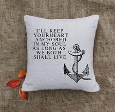 Anchor Pillow - Custom Pillows - Nautical throw pillow - Cottage deco - Home deco. $24.00, via Etsy.