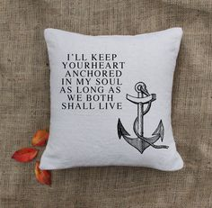 Anchor Pillow - Custom Pillows - Nautical throw pillow - Cottage deco - Home deco. $24.00, via Etsy.