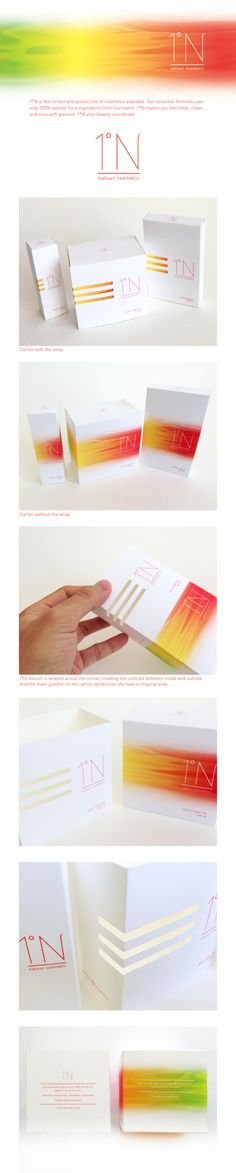 1°N - natural cosmetic package design by CHENGWEN fung, via Behance