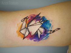 Watercolor origami dragon tattoo