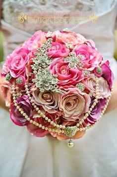 Bouquet with broaches and pearls/ orlandoweddingflowers/ www.weddingsbycarlyanes.com