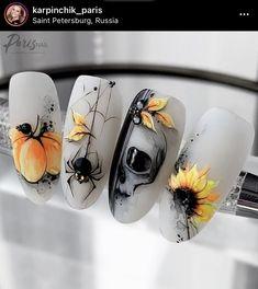 Halloween Acrylic Nails, Holloween Nails, Best Acrylic Nails, Acrylic Nail Designs, Nail Art Designs, Disney Halloween Nails, Halloween Nail Designs, Simple Nail Designs, Goth Nails