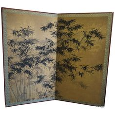 Large Japanese screen with bamboo design