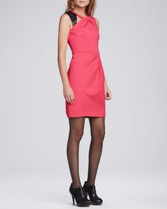 Asteroid+Leather-Detail+Dress+by+Nanette+Lepore+at+Neiman+Marcus.
