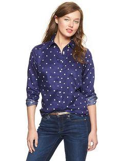 shrunken boyfriend printed sateen shirt - blue polka dot