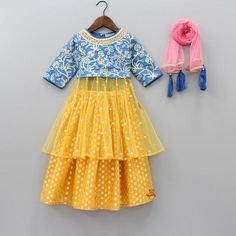 Pre Order: Blue Embroidered Top And Yellow Lehenga With Dupatta Girls Frock Design, Kids Frocks Design, Baby Frocks Designs, Baby Dress Design, Baby Girl Frocks, Frocks For Girls, Dresses Kids Girl, Kids Outfits, Kids Dress Wear