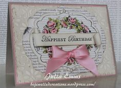 Stamps: Apothecary Art. Cardstock: Crumb Cake, Pretty in Pink, Confetti Cream, Watercolor Paper. Inks: Staz-On (black), Old Olive, Pretty in Pink, Regal Rose, Crumb Cake. Other: Big Shot, Finial Press embossing folder, Brayer, Framelits labels collection, First Edition Specialty Paper, Pretty in Pink Satin Ribbon, Basic Jewels Pearls, Aqua Painter,  Stampin' Dimensionals,  Sponges.