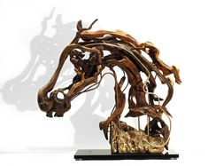 """Large Driftwood Horse Head Sculpture, """"DIANE"""". Natural reclaimed wood Horse sculpture ( 16.53 in x 16.53 in ). by driftwoodartwork on Etsy"""