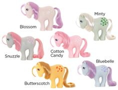 Where it all started: The world first saw these six ponies on TV in Original My daughter Erica had them all. Retro Toys, Vintage Toys, Childhood Toys, Childhood Memories, Vintage My Little Pony, 80s Kids, My Little Pony Friendship, Old Toys, Little Girls