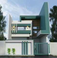 House Front Wall Design, Brick House Designs, Single Floor House Design, Cool House Designs, Modern House Design, House Architecture Styles, Architecture Design, Beautiful Modern Homes, 2 Storey House Design