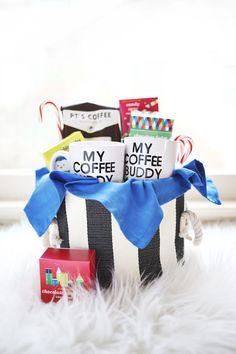 His + Hers Coffee Gift Basket abeautifulmess.com diy