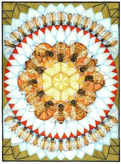 Bee Mandala- the radiating honeycomb/ bee imagery links to the my concept in a…