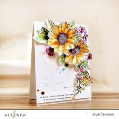 Erum kick starts 2018 with her fantastic floral creation using the Spring Daisy Stamp Set as part of the January 2018 Inspiration Challenge. www.altenew.com