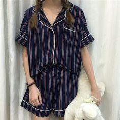 216d3c0ace Sadelle - Pajama Set  Striped Short-Sleeve Shirt + Short Cheap Pajamas