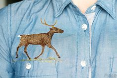 Reindeer embroidery on shirt, by Alicia Sivertsson.