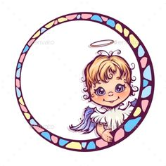 Vector illustration of frame with cute angel