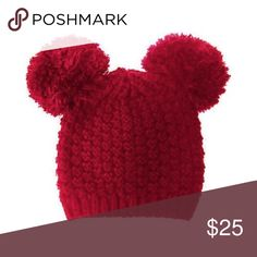 MICKEY MOUSE POM POM BEANIE HAT - burgundy Beyonce's favorite Mickey Mouse Pom Pom Beanie Hat in black. 100% acrylic. Accessories Hats