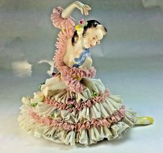 """Vintage Large Dresden Volkstedt """"The Ballarina"""" Porcelain Lace Figurine Germany Dresden Porcelain, Miniature Dolls, Old Women, Germany, Miniatures, Disney Princess, Lady, Passion, Beautiful"""
