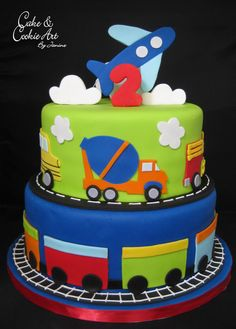 Planes, trains and trucks theme cake