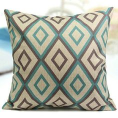 STUFFED Teal Brown GEOMETRIC Throw Pillow by PaesanoPillows