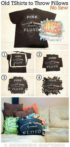 5734844f96167a DIY old tshirt throw pillows (free-form) I swear these are so easy and fun!  They only take 20 minutes! I have tons of old t shirts  -)