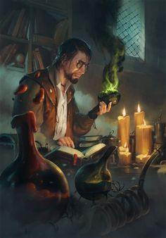 """Alchemist  The Witcher 3 Wild Hunt / Gwent Card. We know of several alchemists through the alchemical manuscripts and books that are mentioned or found throughout the books and game. There may be more, who spent less time writing, and more time simply experimenting, who have left no trace in """"history"""". Witcher Art, The Witcher, Fantasy Male, Fantasy Rpg, Medieval Fantasy, Fantasy World, Fantasy Artwork, Character Creation, Character Art"""