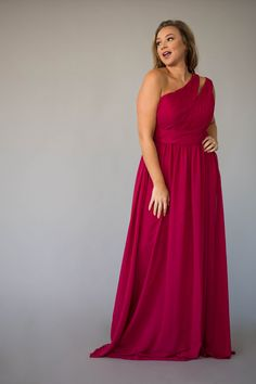 The one-shoulder design makes it easy for you to complete your bridesmaid duties while looking chic and fresh. Berry Bridesmaid Dresses, One Shoulder Bridesmaid Dresses, Bridesmaid Duties, Affordable Bridesmaid Dresses, Jordan Dress, Jordans, Formal Dresses, Chic, Lady