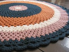 Crocheted rug. @Stephanie Close Close Ware I might have to have some of these.