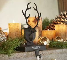Love the birch pillar candles and stocking holder from Pottery Barn