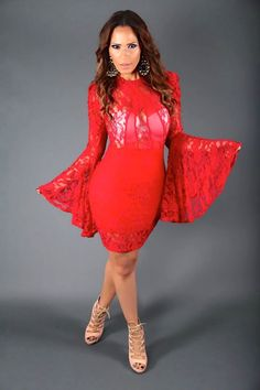 Red Mesh Floral Lace Long Wide Ruffle Sleeve Sexy Dress