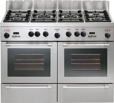 Double oven range - pyrolytic range cooker from De Dietrich Double Oven Stove, Stainless Steel Double Oven, Dual Oven, Double Oven Range, Stove Oven, Kitchen Stove, Kitchen Dining, Gas Stove, Kitchen Tools