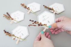 These DIY Seating & Escort Cards Are Embellished With GRASS! : These DIY Seating & Escort Cards Are Embellished With GRASS! Gorgeous DIY seating and escort cards with leaves and grass! Table Cadeau, Wedding Seating Cards, Diy Wedding Place Cards, Diy Place Cards, Table Seating Cards, Wedding Banners, Card Wedding, Wedding Gifts, Wedding Day