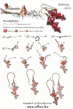 Gratis patronen | Elfenatelier Seed Bead Jewelry, Bead Jewellery, Seed Bead Earrings, Diy Earrings, Seed Beads, Beading Jewelry, Feather Earrings, Jewellery Making, Chandelier Earrings