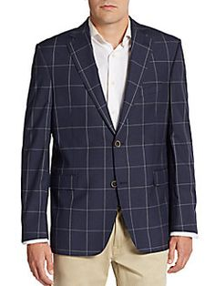 Slim-Fit Windowpane Silk & Wool Sportcoat