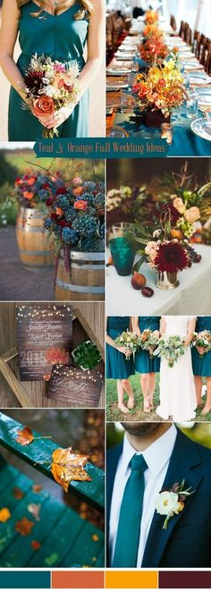 romantic teal blue and orange rustic fall wedding colors