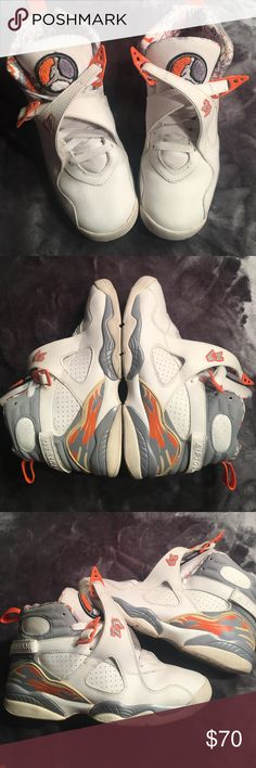 Nike Air Jordan's 8 retro 6.5 Y / 7.5 Women's  2007 Air Jordan Viii Orange Stealth Jordan Shoes Sneakers