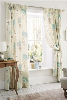Buy Teal Hydrangea Printed Pencil Pleat Curtains from the Next UK online shop