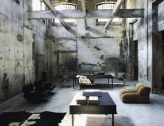 Photo via Vincenzo de Cotiis Architects via T Converted from a sock factory, this peak-industrial hideout in northern Italy was at one point the office of Italian designer and. Urban Industrial, Industrial Living, Industrial Interiors, Industrial Style, Design Industrial, Loft Interiors, Industrial Office, Design Interiors, Interior Architecture