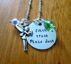 Disney's Peter Pan Inspired Tinkerbell Necklace. Faith, trust and pixie dust! Tinkerbell charm & Swarovski crystals <3