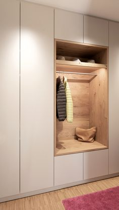 Welcome your guests. This open wardrobe is integrated in the calm cabinet. It shows your guests with Bedroom Built In Wardrobe, Bedroom Closet Design, Bedroom Furniture Design, Home Room Design, Home Interior Design, Interior Architecture, Wardrobe Doors, Hall Wardrobe, Ikea Open Wardrobe