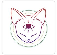 """Third Eye Cat (Colorful)"" Stickers by artbymikayla Stick N Poke Tattoo, Stick And Poke, Third Eye Tattoos, Trippy Cat, Cat Whisperer, F2 Savannah Cat, Witch Art, Cat Stickers, Eye Art"