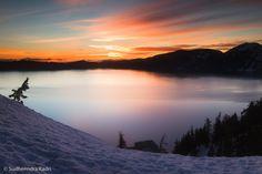 Sunrise, Crater Lake National Park, Cascade Mountains, Oregon, USA