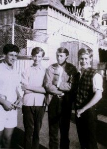 Peter Foldy, Robin Gibb, Maurice Gibb, and friend, Trevor Gordon