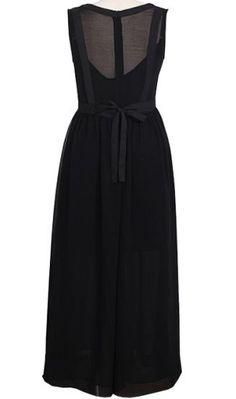 Black Sleeveless High Waist Full-Length Chiffon Dress - Sheinside.com #sheinside
