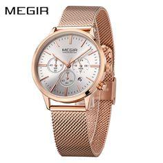 Megir Women Chronograph Luminous Hands Date Indicator Stainless Steel Mesh Strap Quartz Ladies Wrist Watches Lady Rose Gold  #quartz #wristwatch