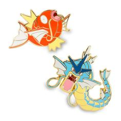 Official Magikarp and Gyarados Pokémon Pins. Both modest Magikarp and Gyarados are a great start or addition to any Pokémon Pin collection.