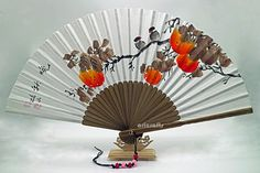 Hand Painted Folding Foldable Fan Persimmon Design Korean Paper Traditional Bamboo Hand Fan Art Decorative Fan Korean, 가을, 감, Korean Gift,부채 Painted Fan, Hand Painted, Magnolia Paint, Hand Drawing Reference, Lotus Flower Design, Chinese Fans, Fan Decoration, Mulberry Tree, Beautiful Lines
